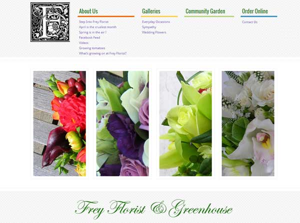 Frey Florist website designed by Cranston ri web designer stant design