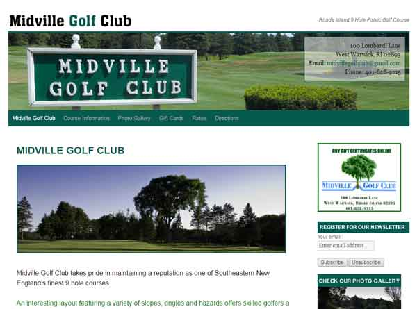 MIdville Golf Clubt website designed by Cranston ri web designer stant design