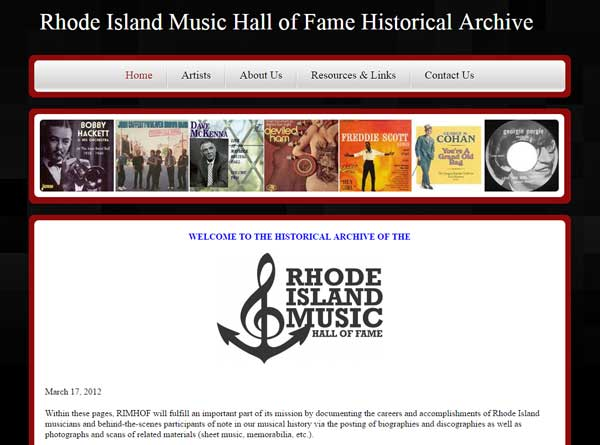 RI Music Hall of Fame designed by RI website company stant design